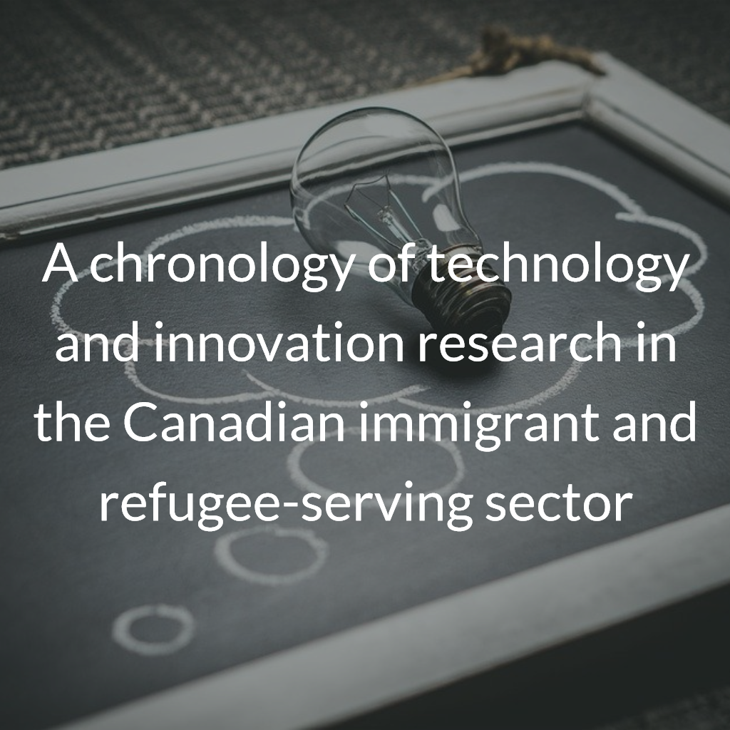 A chronology of technology and innovation research in the Canadian immigrant and refugee-serving sector