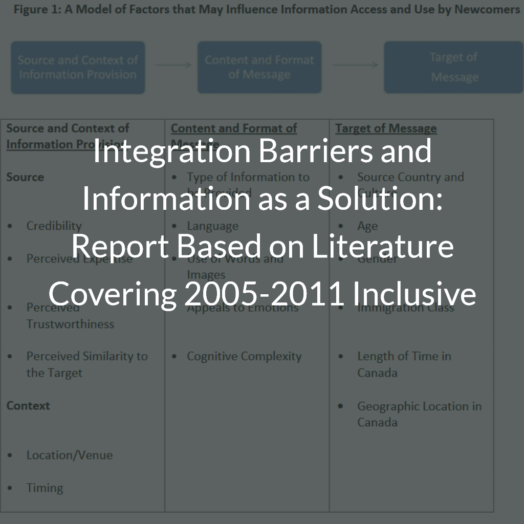 Integration Barriers and Information as a Solution: Report Based on Literature Covering 2005-2011 Inclusive