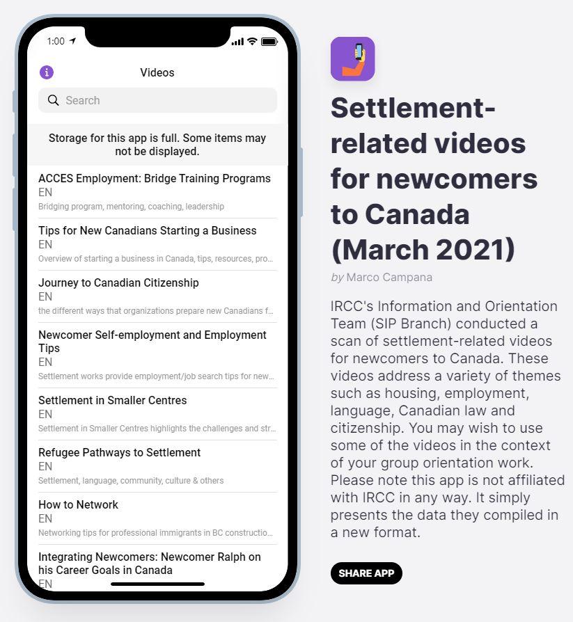 Screenshot of Glide app of settlement-related videos.