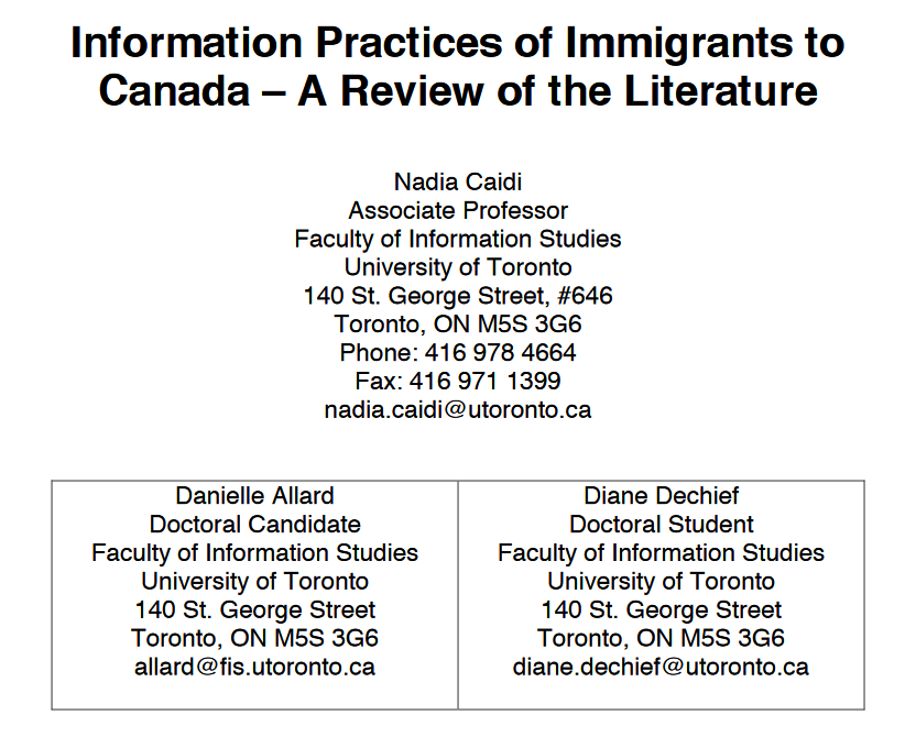 information practices of immigrants to canadsa